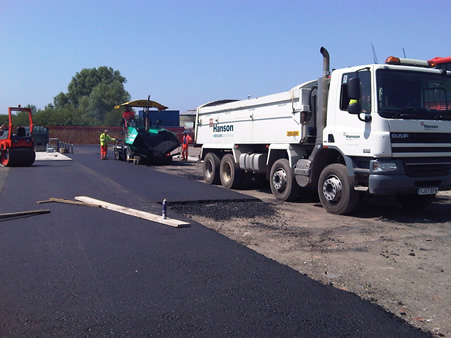 Fresh tarmac delivery ready for laying